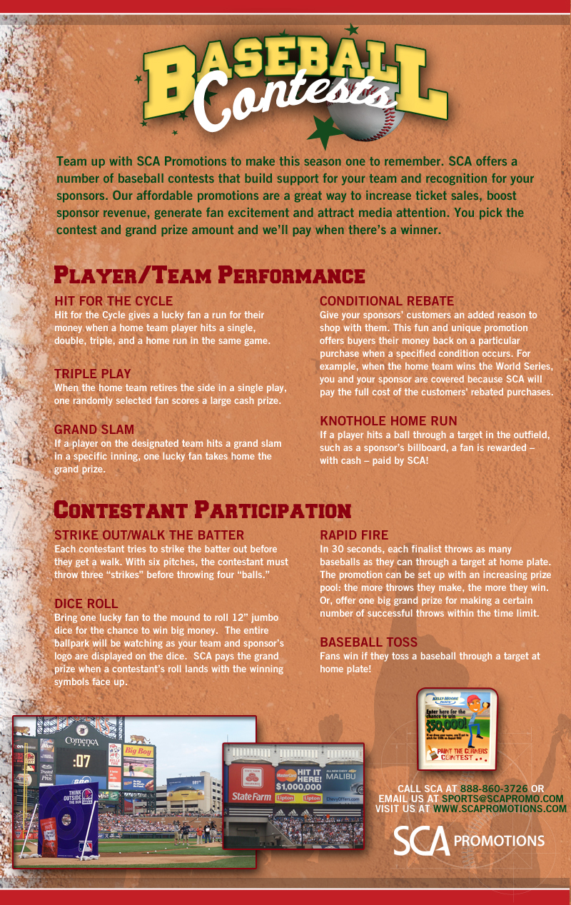 SCA Promotions Baseball Contests