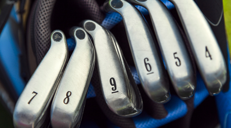 Golf club irons in the bag