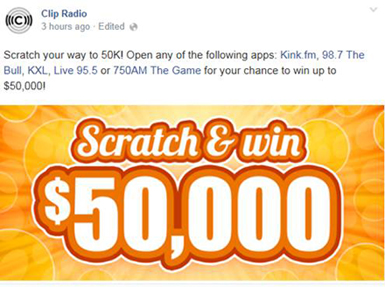 Clip Radio Scratch & Win Promotion